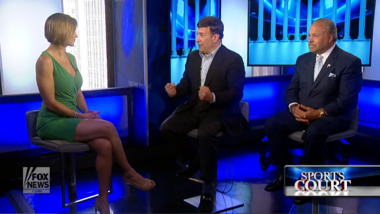 Host Tamara Holder, Mark Simone, center, and Bo Dietl, right, discuss why elite female athletes should wear makeup competing in the Olympics. (Photo: Screenshot)
