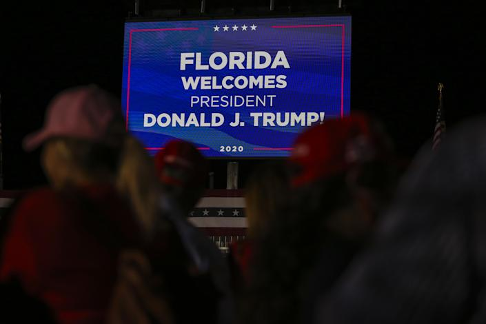 FLORIDA, USA - November 2: A billboard is seen during US President Donald Trump's camping rally at Miami-Opa Locka Operating Airport in Miami, Florida, USA on November 2, 2020. (Photo by Eva Marie Uzcategui Trinkl / Anadolu Agency via Beautiful pictures)