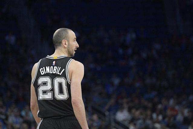 "<a class=""link rapid-noclick-resp"" href=""/nba/players/3380/"" data-ylk=""slk:Manu Ginobili"">Manu Ginobili</a> is getting closer to walking away. (AP)"