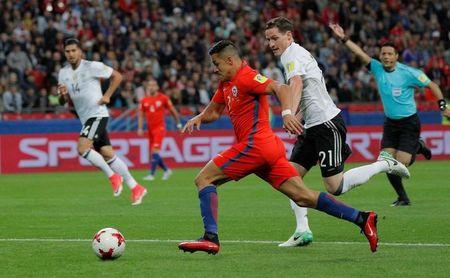 Chile's Alexis Sanchez scores their first goal    REUTERS/Maxim Shemetov