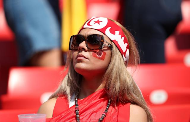 Soccer Football - World Cup - Group G - Belgium vs Tunisia - Spartak Stadium, Moscow, Russia - June 23, 2018 Tunisia fan inside the stadium before the match REUTERS/Albert Gea