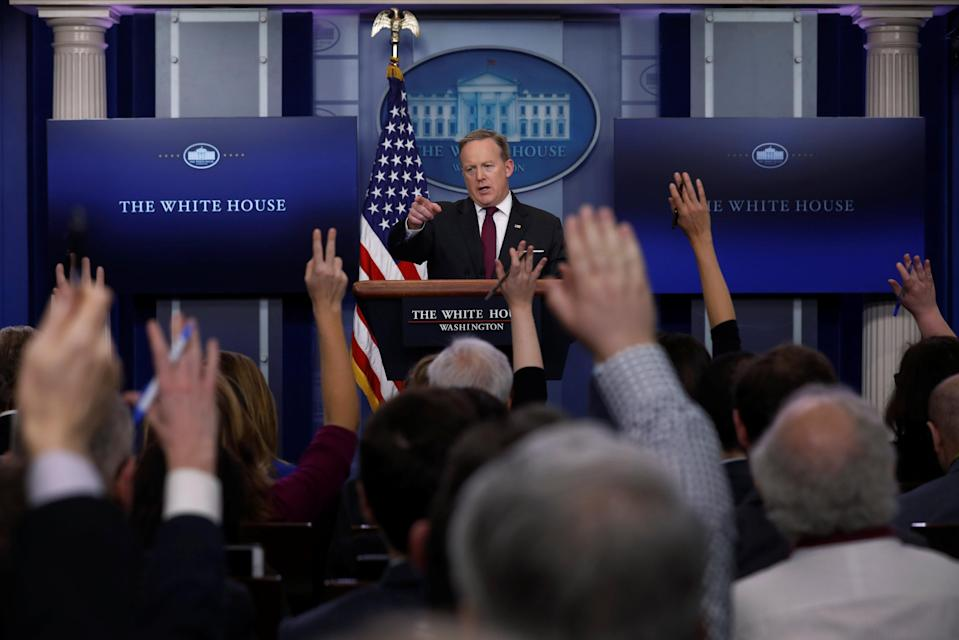 White House Communications Director Sean Spicer holds the daily press briefing at the White House in Washington, U.S. February 23, 2017. REUTERS/Jonathan Ernst