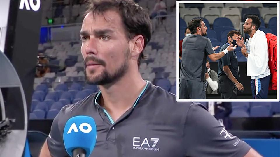 Pictured here, Fabio Fognini can be seen arguing with compatriot Salvatore Caruso.