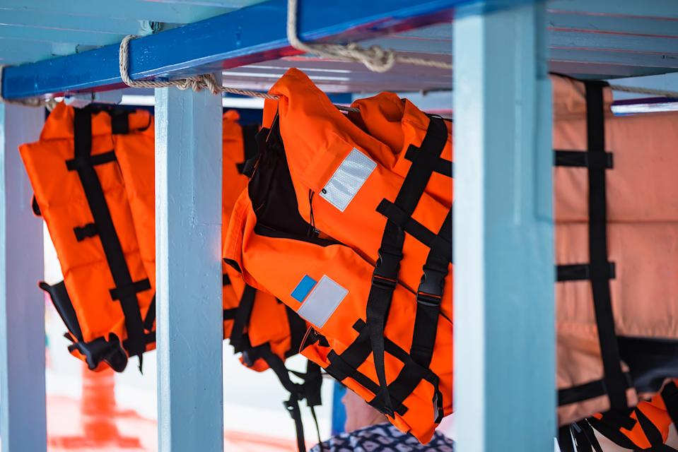 Life jackets on a boat.