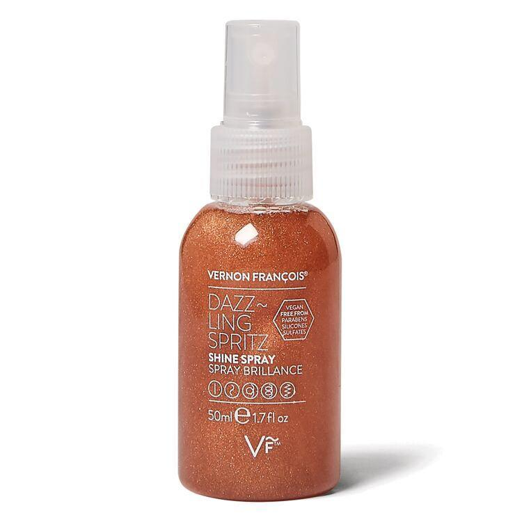 """<h3>Vernon Francois Dazzling Spritz Shine Spray</h3> <br>If your goal is more subtle — less sun-bleached and more sparkly, just to enhance any peroxide-lifted highlights — this spray created by <a href=""""https://www.refinery29.com/en-us/black-celebrity-hairstylists"""" rel=""""nofollow noopener"""" target=""""_blank"""" data-ylk=""""slk:celebrity stylist Vernon Francois"""" class=""""link rapid-noclick-resp"""">celebrity stylist Vernon Francois</a> will get you there.<br><br><strong>Vernon François</strong> Dazzling Spritz Shine Spray, $, available at <a href=""""https://go.skimresources.com/?id=30283X879131&url=https%3A%2F%2Fwww.sallybeauty.com%2Fhair-styling-products%2Fdazzling-spritz-shine-spray%2FSBS-001099.html"""" rel=""""nofollow noopener"""" target=""""_blank"""" data-ylk=""""slk:Sally Beauty"""" class=""""link rapid-noclick-resp"""">Sally Beauty</a><br>"""