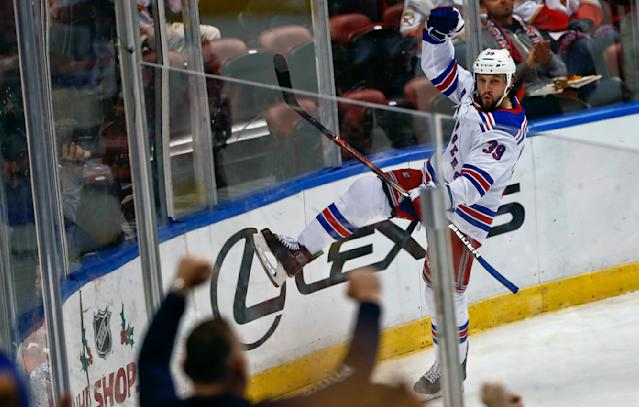 New York Rangers left wing Matt Beleskey celebrates after scoring a goal against Florida Panthers goaltender Roberto Luongo during the second period of an NHL hockey game on Saturday, Dec. 8, 2018, in Sunrise, Fla. (AP Photo/Brynn Anderson)