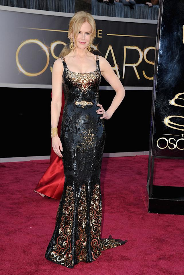 Nicole Kidman arrives at the Oscars in Hollywood, California, on February 24, 2013.