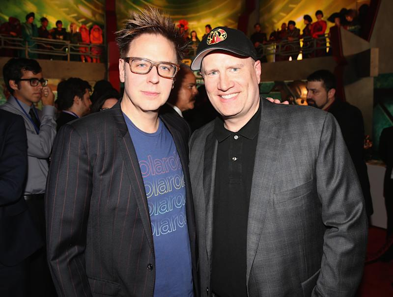"HOLLYWOOD, CA - OCTOBER 10: Screenwriter James Gunn (L) and Producer Kevin Feige at The World Premiere of Marvel Studios' ""Thor: Ragnarok"" at the El Capitan Theatre on October 10, 2017 in Hollywood, California. (Photo by Jesse Grant/Getty Images for Disney)"