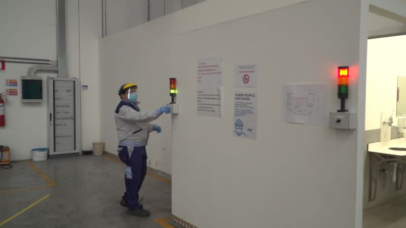 A worker is seen inside the ISA factory in Bastia Umbra