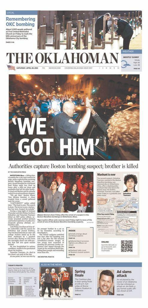 """We Got Him."" The Oklahoman, Oklahoma City, Okla., April 20, 2013."
