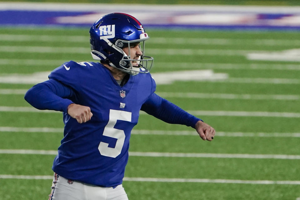 New York Giants kicker Graham Gano (5) reacts after making a field goal during the second half of an NFL football game against the Philadelphia Eagles, Sunday, Nov. 15, 2020, in East Rutherford, N.J. (AP Photo/Seth Wenig)