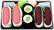 <p>This hilarious box of <span>Sushi Socks</span> ($23) comes with three pairs of themed socks.</p>