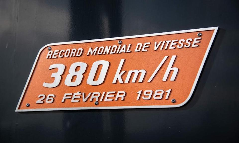Commemorative plaque on TGV train number 16, pictured on 26 February 2021, 40 years after the train broke the world record of railway speed.