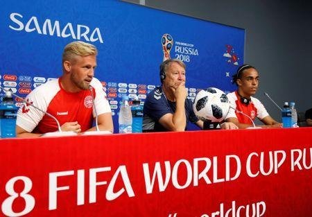 Soccer Football - World Cup - Denmark Press Conference - Samara Arena, Samara, Russia - June 20, 2018 Denmark coach Age Hareide with Kasper Schmeichel and Yussuf Poulsen during the press conference REUTERS/David Gray