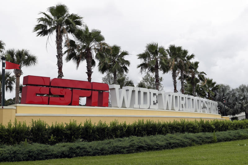 La entrada del complejo de Wide World of Sports de ESPN en Walt Disney World, el miércoles 3 de junio de 2020, en Kissimmee, Florida. (AP Foto/John Raoux)