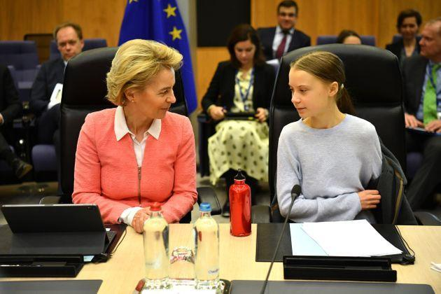 BRUSSELS, BELGIUM - MARCH 04: Swedish environmentalist Greta Thunberg attends a meeting with President of the European Commission Ursula von der Leyen as they announce a new EU climate deal, at the European Commission on March 4, 2020 in Brussels, Belgium. (Photo by Leon Neal/Getty Images) (Photo: Leon Neal via Getty Images)