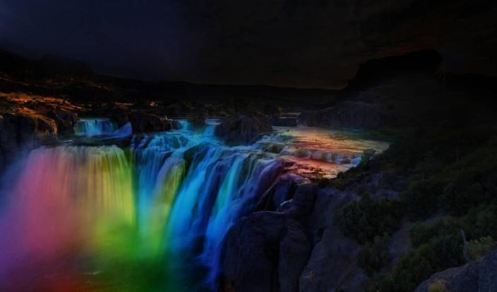 """As this rendering demonstrates, Southern Idaho Tourism, Idaho Central Credit Union, and the City of Twin Falls will illuminate Shoshone Falls after dark during May in a manner similar to the lighting at Niagara Falls. Known as """"the Niagara of the West,"""" Shoshone Falls looms 212 ft. above the Snake River and is 36 ft. taller than Niagara Falls. Forbes recently rated Shoshone Falls as the top bucket list destination for Idaho, and last month Condé Nast Traveler named it one of """"8 Waterfalls in the U.S. Worth Traveling For."""""""