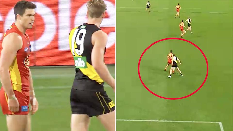 Seen here, Tom Lynch and Sam Collins were involved in an off the ball incident.