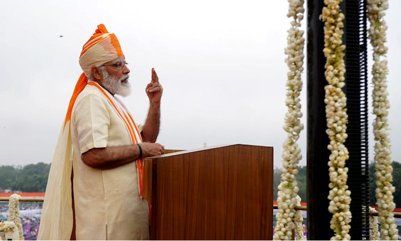 NEW DELHI, Aug. 15, 2020 -- Indian Prime Minister Narendra Modi addresses the nation from the ramparts of the historic Red Fort on the occasion of India's 74th Independence Day in Delhi, India, Aug. 15, 2020. Modi on Saturday said that as three COVID-19 vaccines are in different stages of trials in the country, and once they are finally produced, India will ramp up infrastructure for mass production of the vaccines. (Photo by Xinhua/Xinhua via Getty) (Xinhua/ via Getty Images)