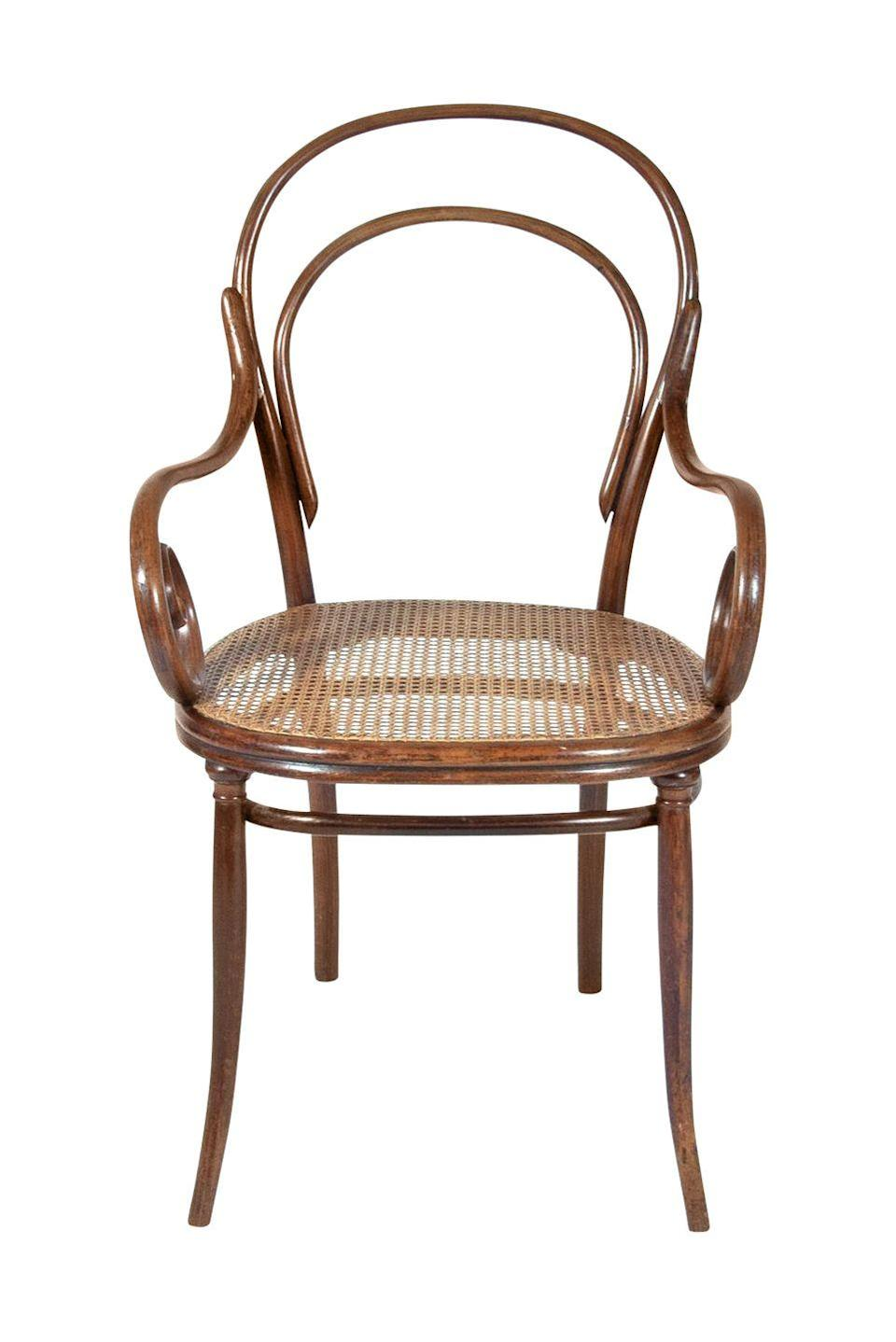 "<p><strong>What it was worth (1985): </strong>$350</p><p><strong>What it's worth now:</strong> $500</p><p><a href=""https://www.ebay.com/itm/Early-Original-Thonet-Austria-Bentwood-Wood-Ice-Cream-Parlor-Chair-Vintage/302843409969"" rel=""nofollow noopener"" target=""_blank"" data-ylk=""slk:This style of furniture"" class=""link rapid-noclick-resp"">This style of furniture</a> was invented by Michael Thonet, a furniture maker born way back in 1796.</p>"