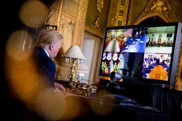 PHOTO: President Donald Trump speaks during a Christmas Eve video teleconference with members of the military at his Mar-a-Lago estate in Palm Beach, Fla., Dec. 24, 2019. (Andrew Harnik/AP)