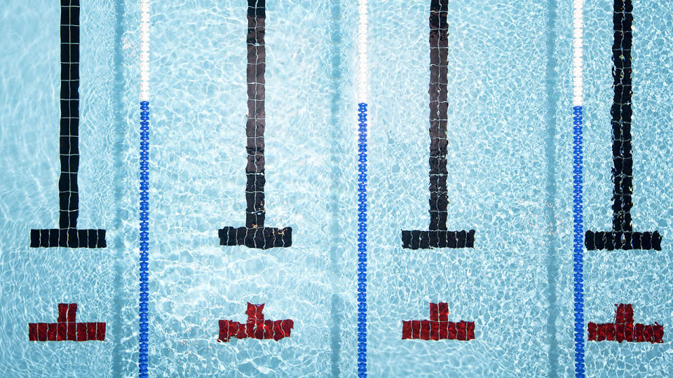 A file photo of a swimming pool with lanes marked.