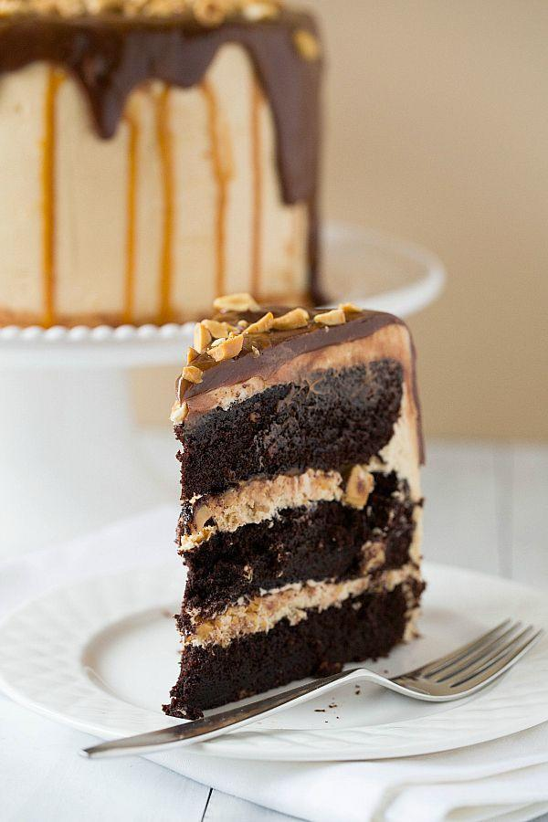 """<p>Caramel. Peanuts. Chocolate. Every element of his favorite chocolate bar, now in one mega cake.</p><p><a href=""""http://www.browneyedbaker.com/snickers-cake/"""" rel=""""nofollow noopener"""" target=""""_blank"""" data-ylk=""""slk:Get the recipe from Brown Eyed Baker »"""" class=""""link rapid-noclick-resp""""><em>Get the recipe from Brown Eyed Baker »</em></a></p>"""