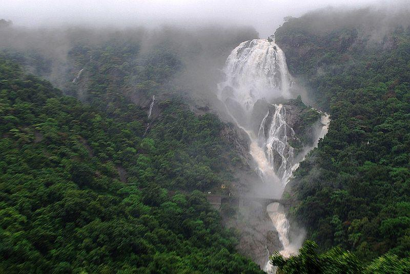 A monsoon portrait of the Dudhsagar falls on a cloudy day with less mist.