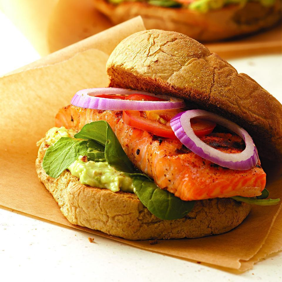 <p>Blackened salmon is great in a sandwich with a spread of mashed avocado and low-fat mayonnaise plus peppery arugula leaves, cool tomato slices and zesty red onion. We grill our Cajun-style salmon so there is no need for any added cooking oil. Catfish makes an excellent stand-in for the salmon but you'll want to use a grill basket if you have one to keep the fish from breaking apart.</p>
