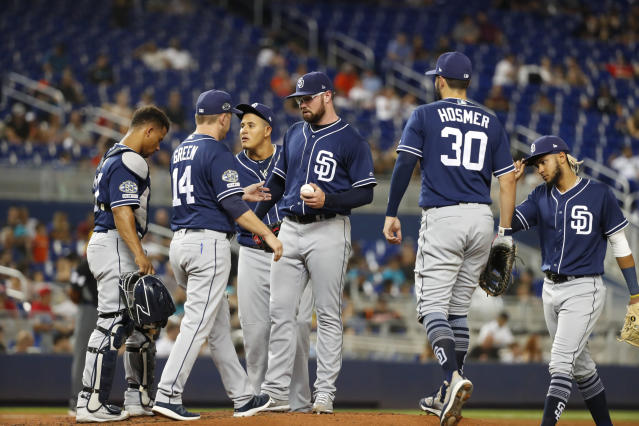 San Diego Padres manager Andy Green (14) takes out starting pitcher Logan Allen during the third inning a baseball game against the Miami Marlins, Tuesday, July 16, 2019, in Miami. (AP Photo/Wilfredo Lee)