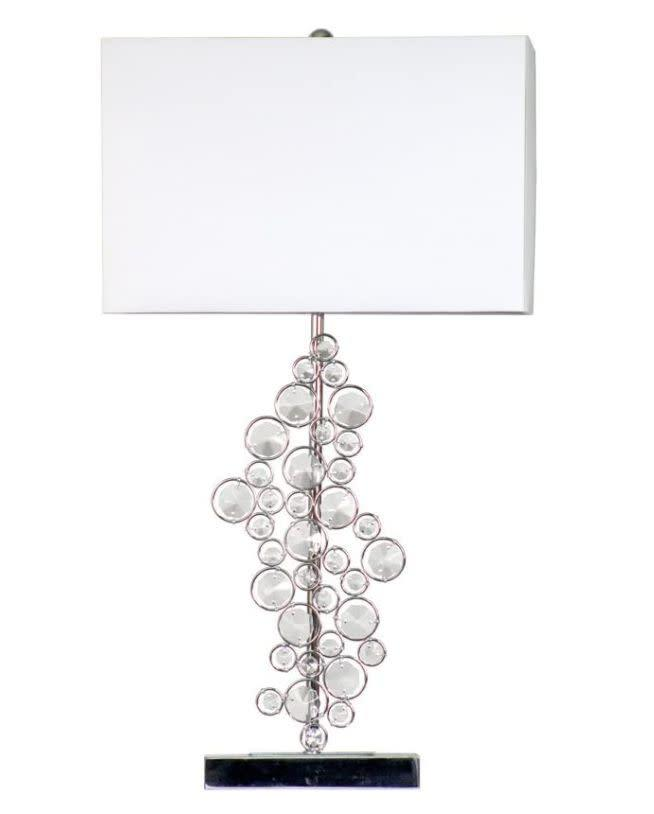 """Those in search of a bit of sparkle can turn to this lamp, which has prismatic crystals all along from the shade to the base. It has a chrome finish, if you're not into gold. This lamp needs a 100-watt bulb. <a href=""""https://amzn.to/3klP7pP"""" rel=""""nofollow noopener"""" target=""""_blank"""" data-ylk=""""slk:Find it for $60 at Amazon"""" class=""""link rapid-noclick-resp"""">Find it for $60 at Amazon</a>."""