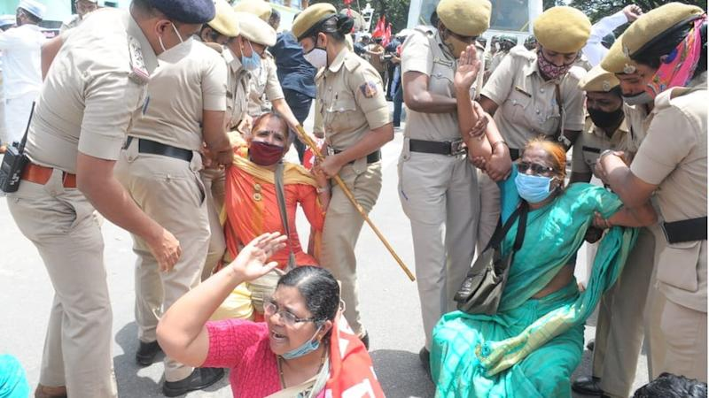 Protesters in Bangalore city