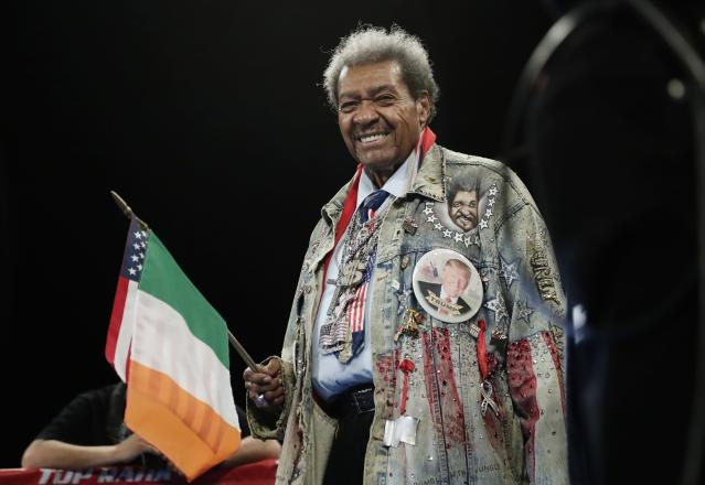 Don King waits for Amir Imam and Jose Ramirez to be announced for a WBC super lightweight championship boxing match Saturday, March 17, 2018, in New York. (AP Photo/Frank Franklin II)