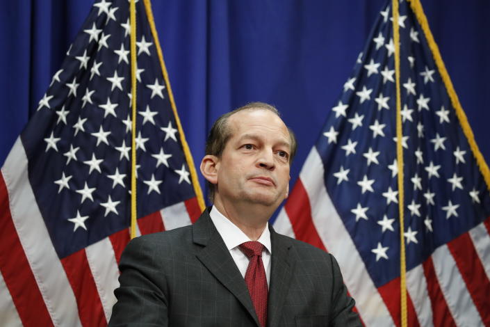Labor Secretary Alex Acosta pauses as he speaks at the Department of Labor, Wednesday, July 10, 2019, in Washington. (AP Photo/Alex Brandon)