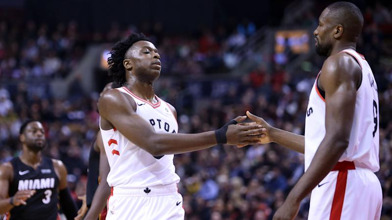 Toronto Raptors teammates OG Anunoby and Serge Ibaka got into a friendly debate about their fashion choices. (Vaughn Ridley/Getty Images)
