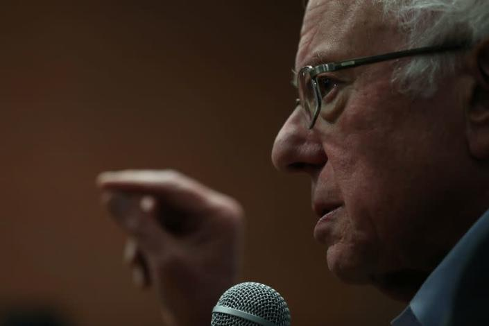 Democratic 2020 U.S. presidential candidate and Bernie Sanders speaks during a campaign rally in Ames, Iowa,