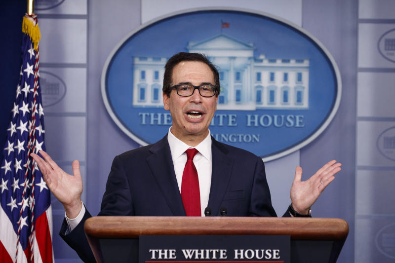 Treasury Secretary Steve Mnuchin speaks during a news briefing at the White House, in Washington, Monday, July 15, 2019. (AP Photo/Carolyn Kaster)