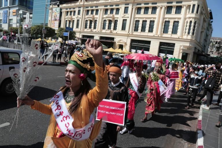 The 37 great 'nats' -- or deities -- venerated in Myanmar do not want military rule, according to spirit mediums protesting against the return to army rule