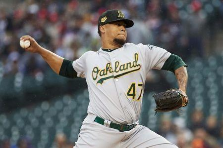 May 17, 2019; Detroit, MI, USA; Oakland Athletics starting pitcher Frankie Montas (47) pitches in the first inning against the Detroit Tigers at Comerica Park. Rick Osentoski-USA TODAY Sports