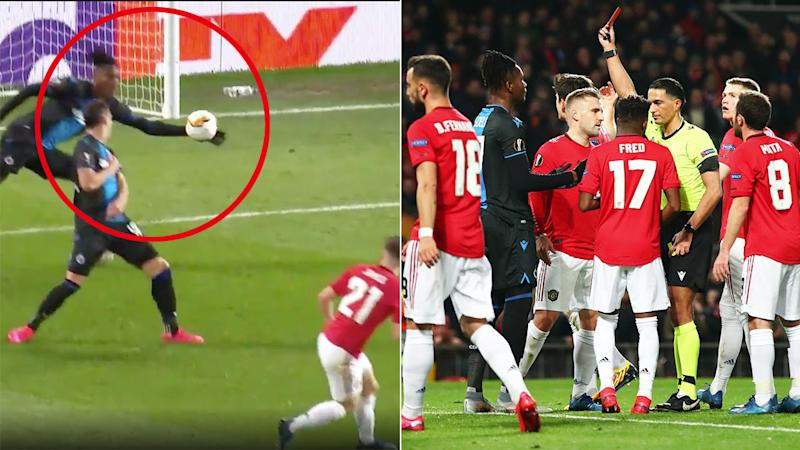 Seen here, the handball that saw Club Brugge defender Simon Deli red carded against Manchester United.