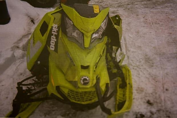 This was the snowmobile Whittle and Pollard were riding when it collided with a taxi on Feb. 19, 2017.  Pictures of it from the aftermath of the crash were evidence during Whittle's trial.