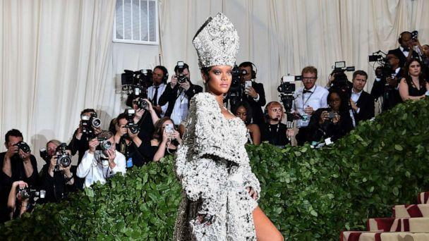 PHOTO: Rihanna arrives for the Met Gala on May 7, 2018 at the Metropolitan Museum of Art in New York City. (Hector Retamal/AFP via Getty Images)