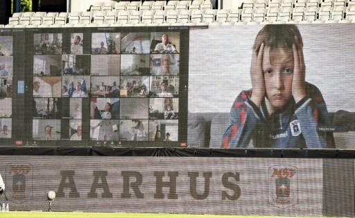 Fans are streamed live on to screens in Aarhus, Denmark