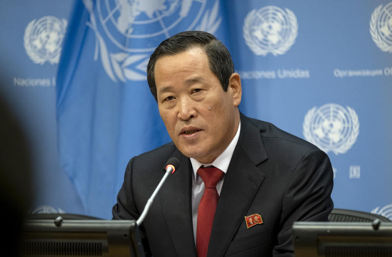 North Korea's U.N. Ambassador Kim Song addresses attendees during a news conference at U.N. headquarters Tuesday, May 21, 2019. (AP Photo/Craig Ruttle)