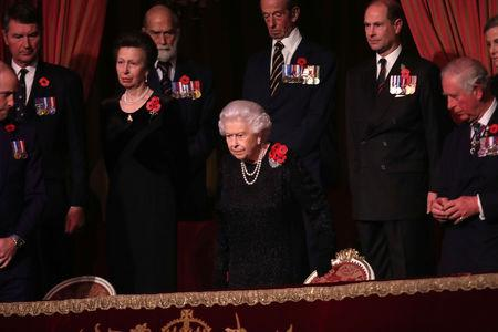 Britain's Queen Elizabeth II with Princess Anne, Princess Royal, Prince Michael of Kent, Prince Edward, Earl of Wessex and Prince Charles, Prince of Wales attend the Royal British Legion Festival of Remembrance to commemorate all those who have lost their lives in conflicts and mark 100 years since the end of the First World War, at the Royal Albert Hall, London, Britain November 10, 2018. Chris Jackson/Pool via REUTERS