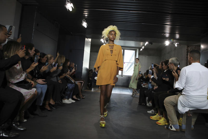 A model wears a creation as part of the Valli Ready To Wear Spring-Summer 2020 collection, unveiled during the fashion week, in Paris, Monday, Sept. 30, 2019. (Photo by Vianney Le Caer/Invision/AP)