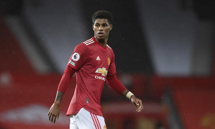 Manchester United's Marcus Rashford looks out during the English Premier League soccer match between Manchester United and Chelsea, at the Old Trafford stadium in Manchester, England, Saturday, Oct. 24, 2020. (Michael Regan/Pool via AP)