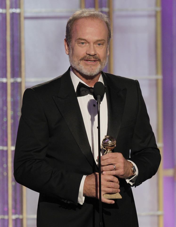 "BEVERLY HILLS, CA - JANUARY 15: In this handout photo provided by NBC, actor Kelsey Grammer accepts the award for Best Actor - TV Series Drama ""Boss"" onstage during the 69th Annual Golden Globe Awards at the Beverly Hilton International Ballroom on January 15, 2012 in Beverly Hills, California. (Photo by Paul Drinkwater/NBC via Getty Images)"