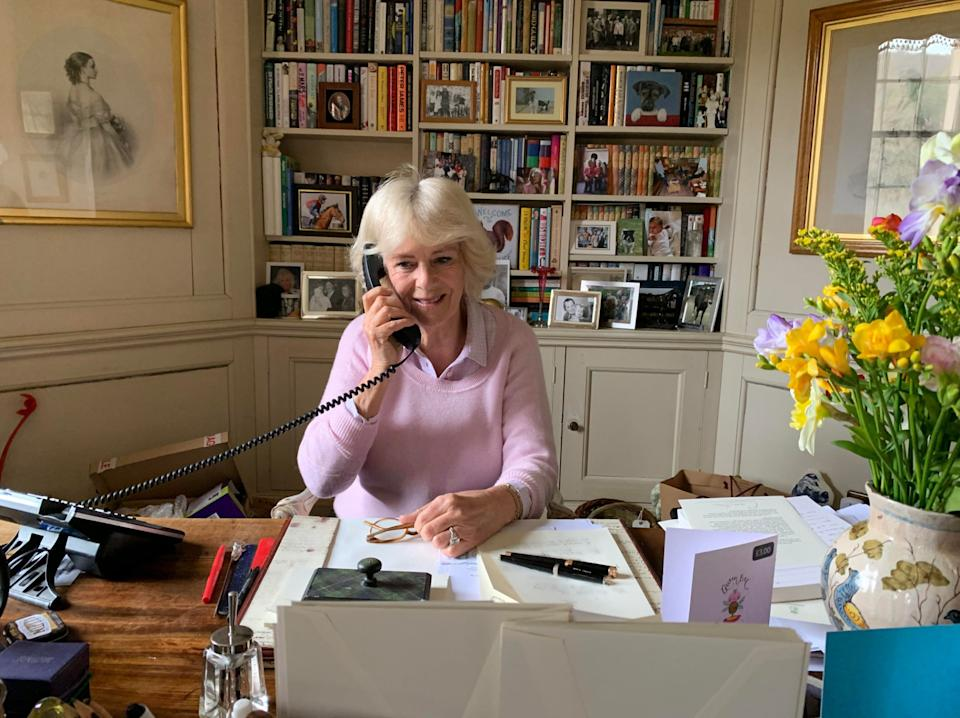 EMBARGOED TO 2200 BST MONDAY APRIL 6. Handout picture of the Duchess of Cornwall (known as the Duchess of Rothesay while in Scotland) on the phone at Birkhall in Aberdeenshire, after she came out of isolation.