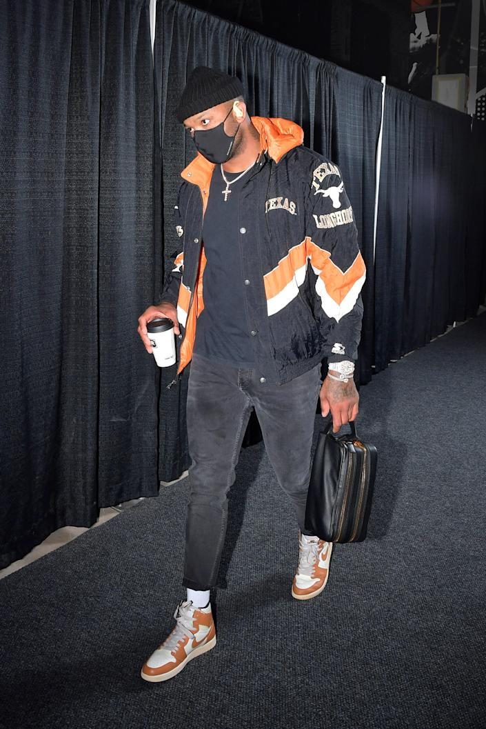P.J. Tucker of the Houston Rockets arrives for a game against the Spurs in San Antonio, January 14, 2021.